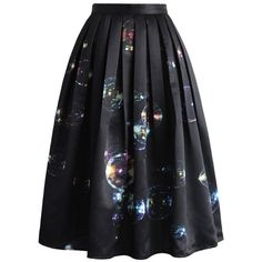 Chicwish Bubbles Shining in Dark Midi Skirt (63 CAD) ❤ liked on Polyvore featuring skirts, black, bubble skirt, mid calf skirts, print skirt, patterned skirt and wet look skirt
