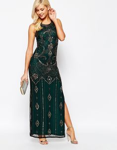 Image 4 ofFrock And Frill Allover Embellished Maxi Dress Cross Open Back