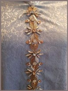 Silver Beaded Lace Trim Sequined Trim 1 Yard For Costume Wedding Dress Belt Brial Sash Jewelry Design - Her Crochet Embroidery On Kurtis, Kurti Embroidery Design, Hand Embroidery Dress, Bead Embroidery Patterns, Tambour Embroidery, Embroidery On Clothes, Couture Embroidery, Embroidery Fashion, Embroidery Jewelry