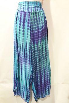 Boho Hippy Chic Sale Tie Dye Blue Hippie Pants Wide Leg Split Elastic Waist