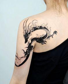 tattoo tattoo tattoo ideas tattoo ideas tattoo designs tattoo designs tattoo art tattoo art Beauty of Shoulder tattoo Beauty of back tattoo Black Dragon Tattoo, Small Dragon Tattoos, Dragon Tattoo For Women, Dragon Tattoo Designs, Small Tattoos, Dragon Tattoo Shoulder, Back Shoulder Tattoos, Dragon Tattoo On Back, Cute Dragon Tattoo