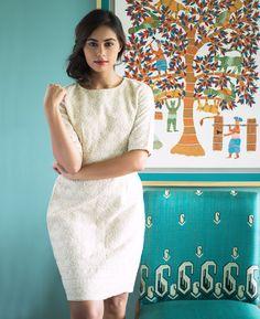 Cotton Silk Embroidered Pencil Dress in Cream