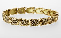 """Dragon"" yellow gold with diamonds bracelet, 17 diamonds totaling carat. A wonderful sectional bracelet with linked dragon heads, each having a diamond for an eye. Not in stock Oth… 18k Gold Bracelet, Sterling Silver Bracelets, Jewelery, Jewelry Bracelets, Beaded Necklaces, Men's Jewelry, Silver Jewellery, Fashion Jewelry, Bangles"
