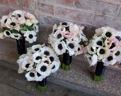 white french anemones bridesmaid bouquets | Visit weddingwindow.com