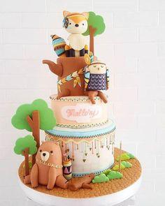 Bellísimas tortas decoradas tema Bosque | Tarjetas Imprimibles Deco Cupcake, Cupcake Cakes, Beautiful Cakes, Amazing Cakes, Gateau Baby Shower Garcon, Fox Cake, Cupcakes Decorados, Woodland Cake, Animal Cakes