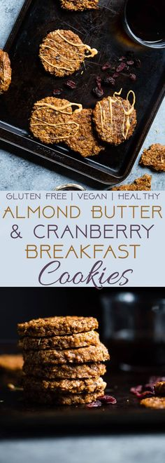 Vegan Almond Cranberry Oatmeal Breakfast Cookies - Made extra nourishing with sweet potato and almond butter! An easy, healthy and dairy/gluten free breakfast for on the go!   Foodfaithfitness.com   @FoodFaithFit
