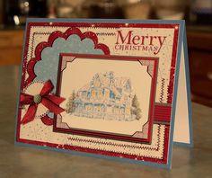 Handmade Christmas Card - Stampin Up Christmas Lodge.  via Etsy.