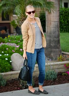 Casual look in a tan jacket + stripes