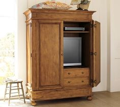 Pottery Barn's expertly crafted collections offer a widerange of stylish indoor and outdoor furniture, accessories, decor and more, for every room in your home. Tv Cabinets With Doors, Dream Home Design, House Design, Tv Armoire, Hidden Tv, Tv Storage, Retro Home, Entertainment Center, Wall Shelves