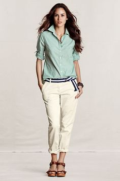 Women's Long Sleeve End-on-End Shirt from Lands' End Canvas