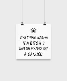 Cancer Zodiac Poster - Karma is a Bitch ? Piss off a Cancer.