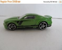 Ford Mustang - Green- Mattel car model by CellarDeals on Etsy