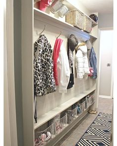 "Today on the blog, I'm sharing 8 creative storage solutions for narrow spaces. We built our mudroom wall in a narrow hallway using bead board, hooks and only 5"" of depth It was an easy/inexpensive project to do and it has been a life saver for us. The plans-plus other projects on blog. Link in bio. #getorganized #diy #mudroom #storage"