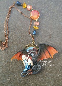 drogon & daenerys polymerclay necklace by AngeniaCreations
