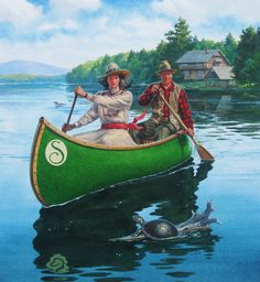 Great Camp Sagamore, canoe painting