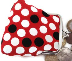 Items similar to Purse Spots Dotty Red Black White Kiss Clasp on Etsy My Style Bags, Unique Gifts, Handmade Gifts, Red And White, Red Black, Purses And Bags, Sunglasses Case, Coin Purse, Polka Dots