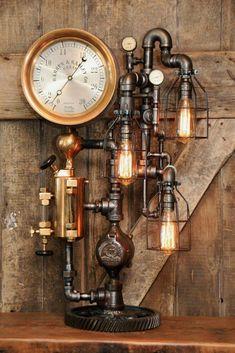 Steampunk Industrial Pipe Lamp, Oiler and Steam Gauge - Steampunk Furniture, Vintage Industrial Furniture, Steampunk Interior, Industrial Interiors, Antique Furniture, Lampe Steampunk, Steampunk House, Steampunk Diy, Deco Restaurant