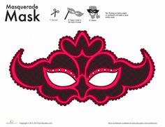 New Year First Grade Holiday Paper Projects Worksheets: Lace Mask