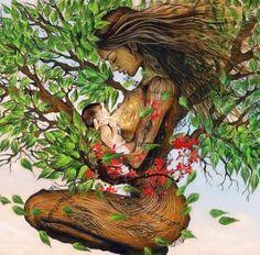Art Black Love, Art Visionnaire, Birth Art, Pregnancy Art, Tree Woman, Goddess Art, Visionary Art, Sacred Art, Tree Art