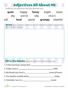 Worksheets: Adjectives that Describe You