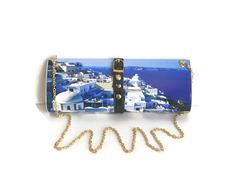 SALE  Santorini Photographic Clutch Purse with Chain Strap Unique Gifts for Her Spring Gifts on Etsy, $35.00