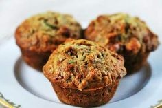 Healthy Muffins with zucchini applesauce and bananas. LOVED them!! They didn't even call for any type of sweetener. (: