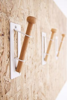 Wall Hooks by Pedersen + Lennard - Osb Plywood, Maker Labs, Joinery Details, Support Mural, Tiny House Living, Wall Organization, Minimal Design, Wall Hooks, Decorating Tips