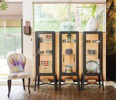 Cabinet & sideboards: FABRIKOR Glass-door cabinet, dark grey