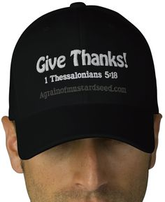 Give Thanks! Agrainofmustardseed.com embroidered caps http://www.zazzle.com/agrainofmustardseed/gifts?useTermPositions=False&cg=196902059449174412