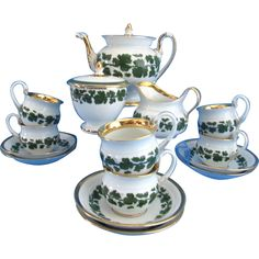 Meissen Germany Gilded Full Green Vine Pattern Tea Set With Swan Handles For Six