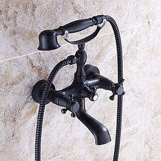 Traditionnel huilé Finition Bronze Deux poignées de robinet de douche