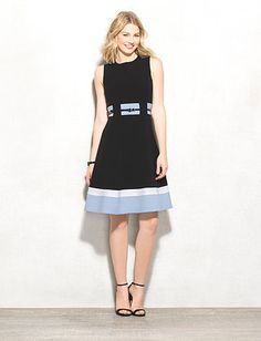 Belted Color Block Fit-and-Flare Dress