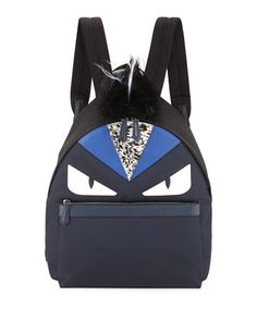 Monster Nylon Backpack with Fur Crest, Blue/White by Fendi at Neiman Marcus.
