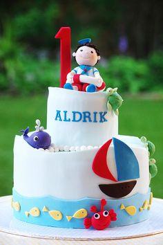 sailing theme birthday cake