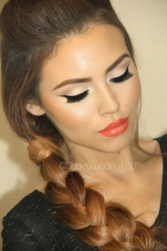 """Kissable Complexions...GORGEOUS """"Orange Crush"""" makeup look with LimeCrime """"My Beautiful Rocket"""" lipstick."""