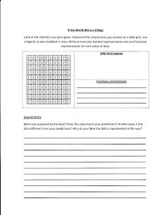 If the World Were a Village Lesson with worksheet