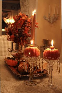 kendradaycrockett:  pumpkin candles  by Romantic Home on Flickr. Fall Decor