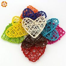 20PCS New Arrival Rattan Ball10CM Heart Sepak Takraw For Christmas Birthday Party & Home Wedding Party Decoration 10 Colors(China…