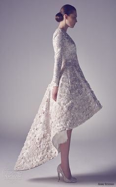ashi studio couture 2015 v neckline long sleeves embroidery high low short wedding dress side view