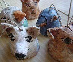 Small Ceramic Dog Bird & Cat Bell Sculptures by demigodstudio, $35.00. Love the idea of making the pinch pot animals into bells!