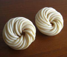 2 Large Vintage Spaghetti Celluloid Coil Swirl by SanDiegoVintage