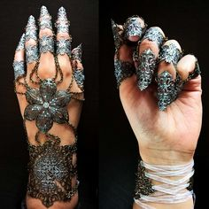 Check out my listing on Etsy for the full hand silver gradient claws! Fantasy Jewelry, Gothic Jewelry, Claw Gloves, Armor Ring, Dragon Claw, Fantasy Armor, Hand Jewelry, Miu Miu Ballet Flats, Jewelry Accessories