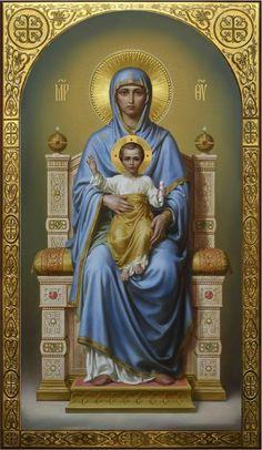 Theotokos on the throne, academic icon Religious Images, Religious Icons, Religious Art, Blessed Mother Mary, Blessed Virgin Mary, Catholic Prayers, Catholic Art, Religion, Catholic Pictures