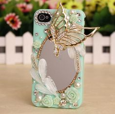 Butterfly Claw Chain Mirrors DIY Phone Case Deco Den Kit   Free iPhone5 case or iPhone4/4S case