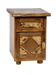 Enclosed Log Nightstand - Adirondack Style Expensive, though!