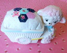 Vintage Planter with Handmade Hexagon Pincushion by sewdeerlyloved