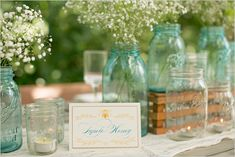 blue mason jar wedding ideas