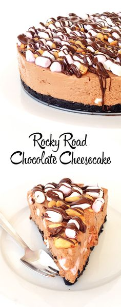 No Bake Rocky Road Cheesecake - Handle the Heat
