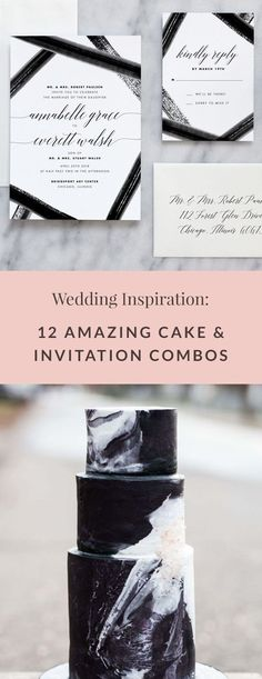 12 amazing wedding cake & invitation combos to inspire your big day Colorful Wedding Invitations, Watercolor Wedding Invitations, Wedding Stationery, Amazing Wedding Cakes, Elegant Wedding Cakes, Fern Wedding, Wedding Planning Timeline, Wedding Games, Save The Date Cards