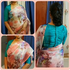 chiffon floral print peach saree paired with lovely blue blouse Kalamkari Blouse Designs, Sari Blouse Designs, Saree Blouse Patterns, Designer Blouse Patterns, Simple Blouse Designs, Stylish Blouse Design, Latest Saree Blouse, Floral Print Sarees, Indian Gowns Dresses